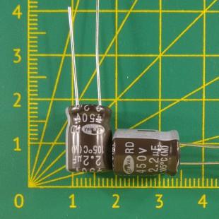 2,2 мкФ х 450В Конденсатор электролитический 105С