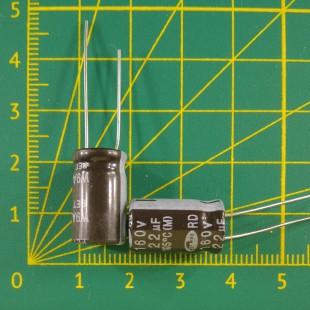22 мкФ х  160В Конденсатор электролитический 105С